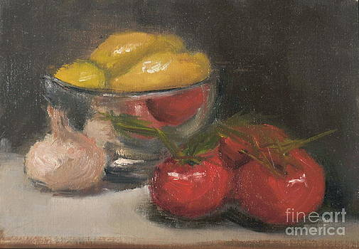 Silver Bowl with Lemons and Tomatoes by Joyce Colburn