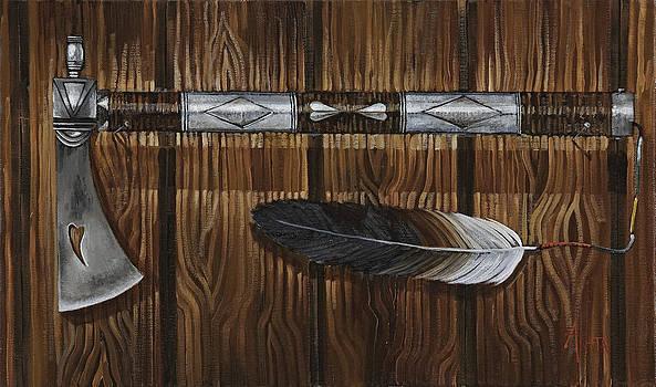 Silver Handle Tomahawk Peace Pipe by Geraldine Arata