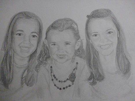 Sisters Love Memorial Drawing 11x15 inches Portrait U Provide Picture by Pigatopia by Shannon Ivins