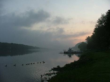 Sistersville Ferry at Sunrise by Joan Kerns