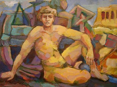 Sitting naked man by Alfons Niex