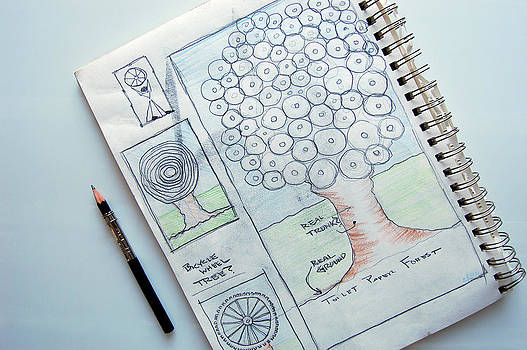 Sketch book Living Green Concepts toilet paper forest by George Olney