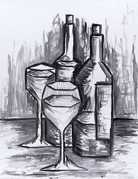 Kamil Swiatek - Sketch - Still Life with Wine