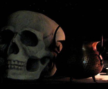 Skull And Cauldron by Les DeMartin