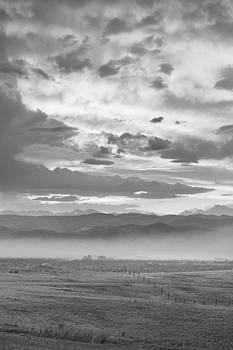 James BO  Insogna - Smoky Sunset Over Boulder Colorado BW