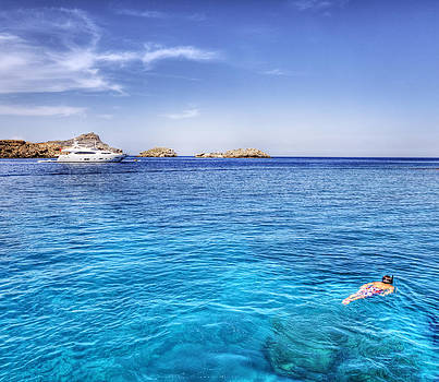 Snorkeling at Lindos Rhodes by Mike Gorton