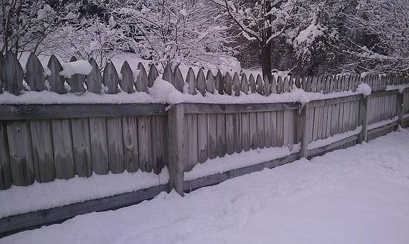Snow Along A Fence by Jeannette Brown