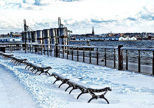 Anne Ferguson - Snow Benches Along the Harbor