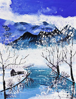 Snow Mountain And River Poster Color by Mongkol Chakritthakool