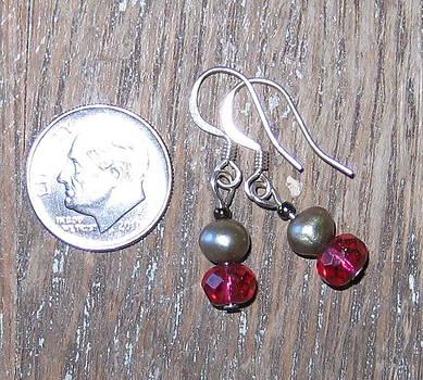 SOLD    Pearl and Garnet Earrings by Elizabeth Carrozza
