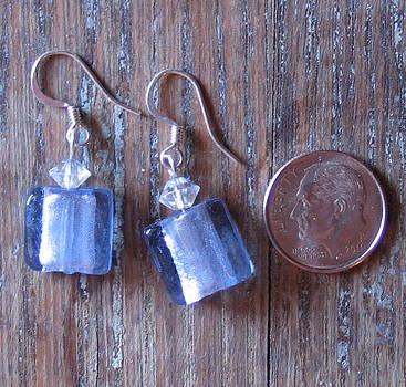 SOLD-Blue Frost Glass Earrings by Elizabeth Carrozza