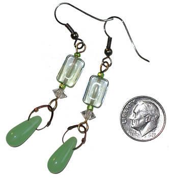 SOLD-Jade Green Glass Dangle Earrings by Elizabeth Carrozza