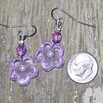 SOLD- Purple Flower Power Earrings by Elizabeth Carrozza