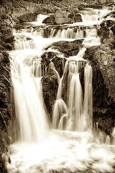 Split Rock Falls Black and White 6665  by Ken Brodeur