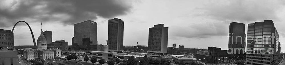 Tim Mulina - St Louis Downtown Panorama in black and white