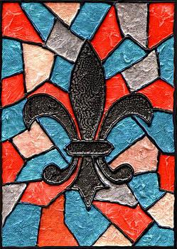 Stained Glass Fleur de Lis by Elaine Hodges