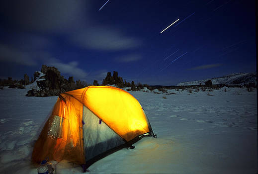 Star Trails Over Winter Tent by Buck Forester