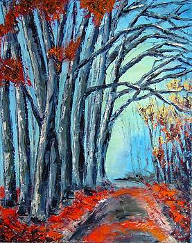Stay on the path. Palette Knife Oil Painting. No Brush. by Lisa Elley