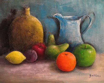 Still Life - Jug Vase and Fruit by Jim  Romeo