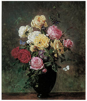 Olaf August Hermansen - Still Life of Flowers in a Vase