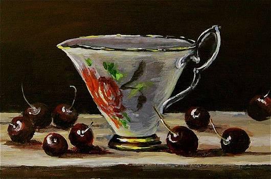 Still Life Teapot Cherries  by Khatuna Buzzell