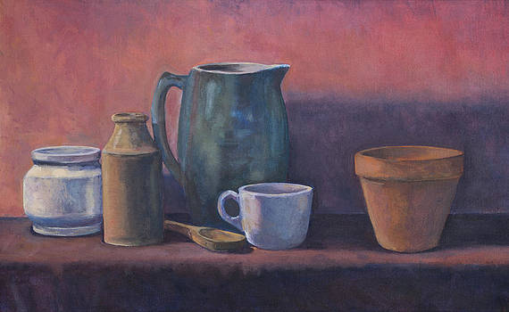 Still-Life with a Turquoise Pitcher by David P Zippi