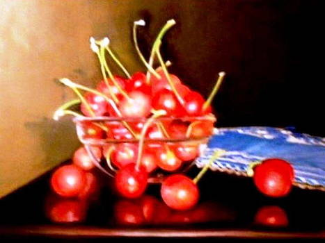 Still life with cherries by Tina Art