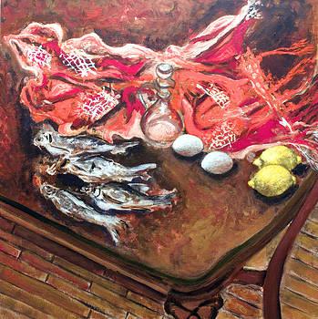 Still life with Fish Eggs and Lemons by Vladimir Kezerashvili