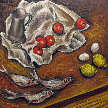 Still-life with Fish Tomatoes Eggs and Lemons by Vladimir Kezerashvili