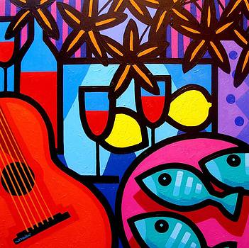 Still Life With Guitar And Fish by John  Nolan