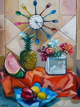 Still life with kitchen clock by Carmen Stanescu Kutzelnig