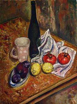 Still Life with  lemons and plums by Vladimir Kezerashvili