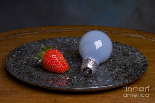 Still Life with Lightbulb and Strawberry by Warren Sarle