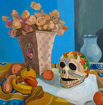 Still life with mexican skull by Carmen Stanescu Kutzelnig
