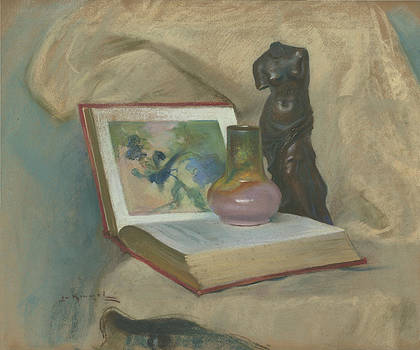 Still Life With Open Book by Lu Kimmel