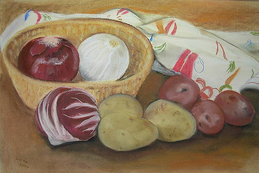 Still Life With Potatoes And Onions by Gitta Brewster