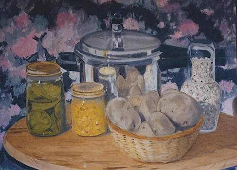 Still Life with Pressure Cooker Canned Vegetables and Potatoes by Terry Forrest