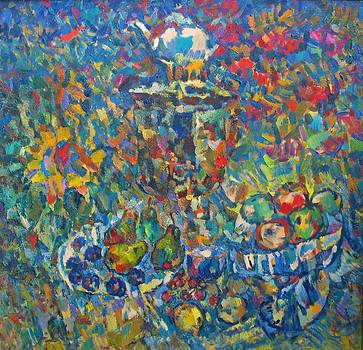 Still Life With Samovar and Fruits by Ivan Filichev