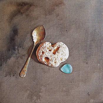 Still life with teaspoon and heart stone by Elena Kolotusha