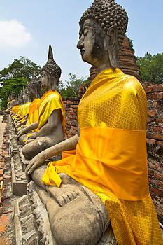 Stone statue of a Buddha in Ayutthaya  by Kobchai Sukruean