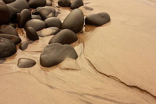 Stones on an ocean beach by Peggy Quade