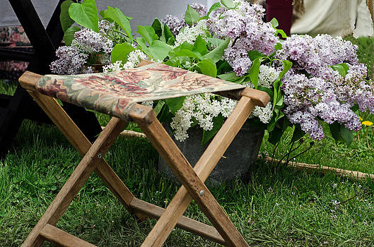 stool and Lilacs by Cheryl Cencich