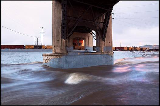 Storm Water under the Sixth Street Bridge in LA by Kevin  Break