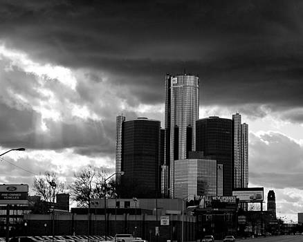 Stormy Detroit GM Building - Black and White by Alanna Pfeffer