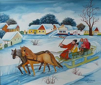 Street at winter by Alzbeta Cizikova