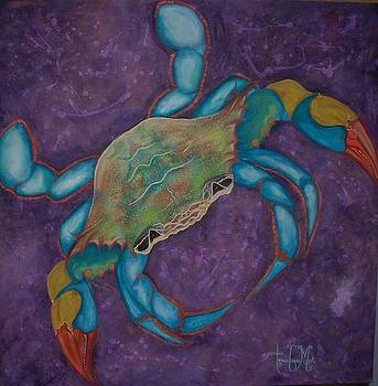 Stylized Blue Crab on Distressed Violet by Teresa Grace Mock