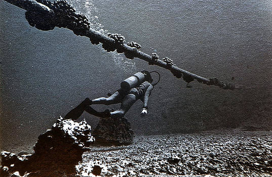 Bill Owen - Submarine Telephone Cable and Diver - Hanauma Bay 1973