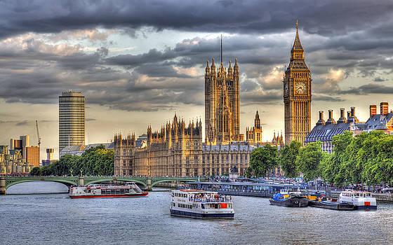Sun Setting on Big Ben London by Mike Gorton