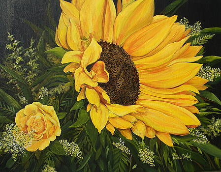 Sunflower and Rose by Patricia DeHart