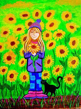 Nick Gustafson - Sunflower Girl and Cat